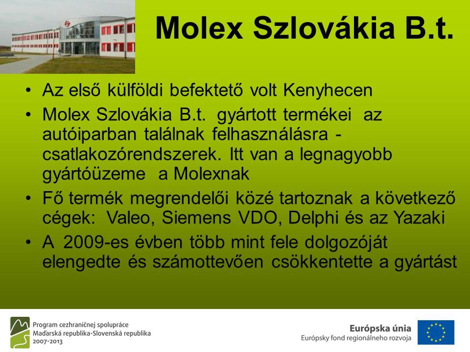 Molex Szlovákia B.t. •Az első külföldi befektető volt Kenyhecen •Molex Szlovákia B.t.