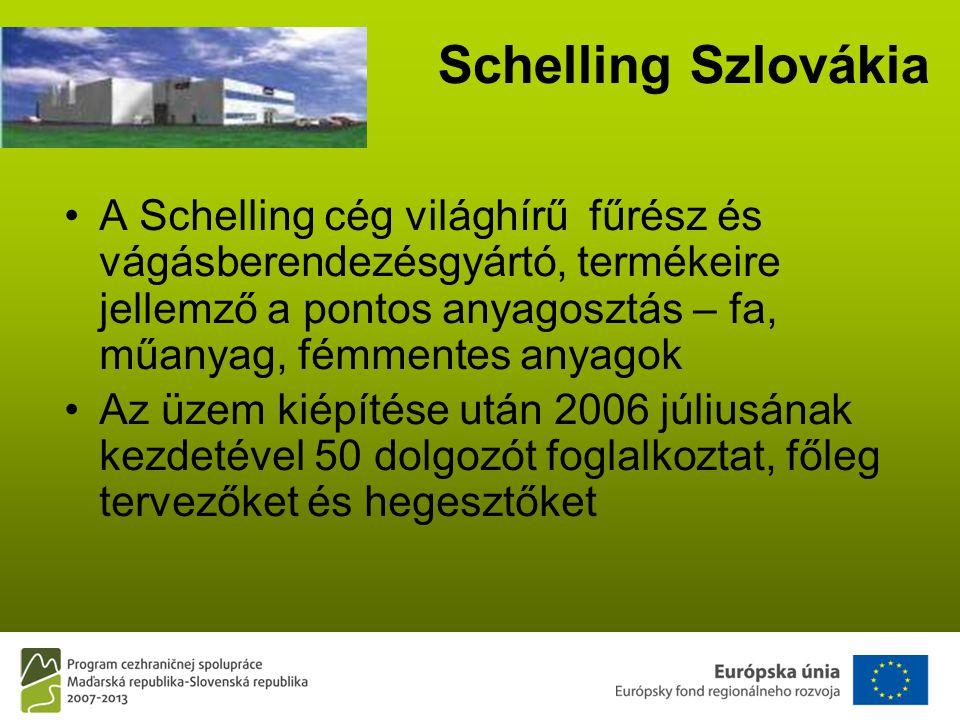 Schelling Szlovákia •A Schelling cég világhírű fűrész és vágásberendezésgyártó, termékeire jellemző a pontos anyagosztás – fa, műanyag, fémmentes anyagok •Az üzem kiépítése után 2006 júliusának kezdetével 50 dolgozót foglalkoztat, főleg tervezőket és hegesztőket