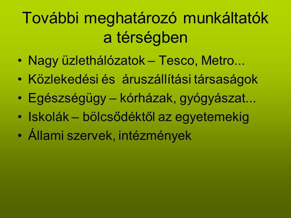 További meghatározó munkáltatók a térségben •Nagy üzlethálózatok – Tesco, Metro...