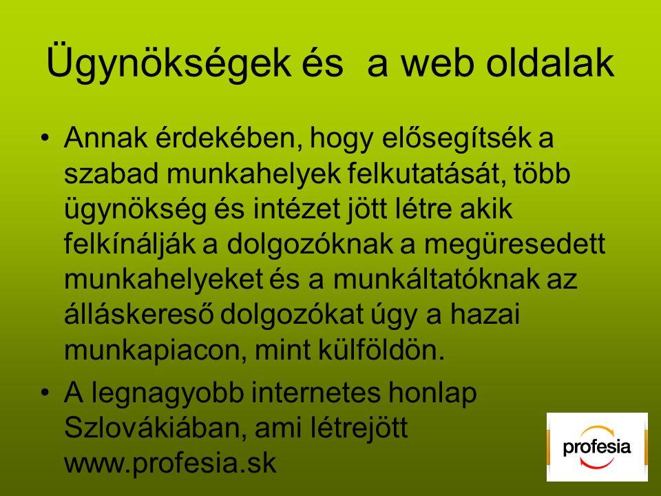 Ügynökségek és a web oldalak •Annak érdekében, hogy elősegítsék a szabad munkahelyek felkutatását, több ügynökség és intézet jött létre akik felkínálják a dolgozóknak a megüresedett munkahelyeket és a munkáltatóknak az álláskereső dolgozókat úgy a hazai munkapiacon, mint külföldön.
