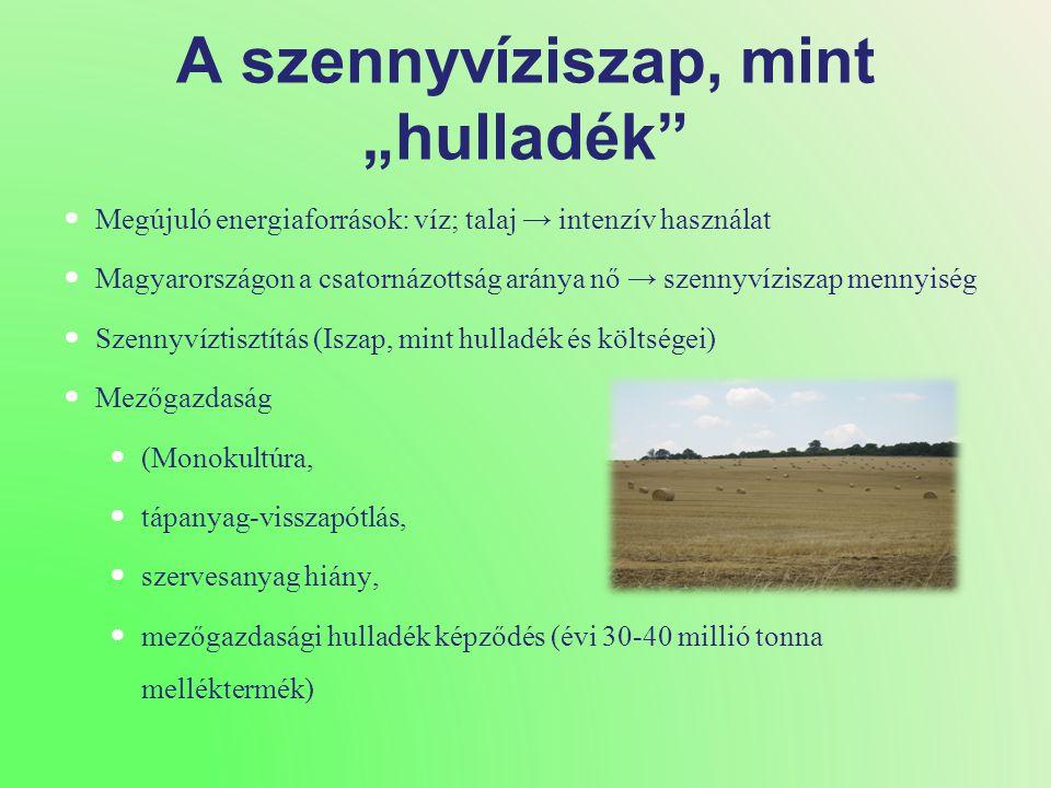 """A szennyvíziszap, mint """"hulladék  Megújuló energiaforrások: víz; talaj → intenzív használat  Magyarországon a csatornázottság aránya nő → szennyvíziszap mennyiség  Szennyvíztisztítás (Iszap, mint hulladék és költségei)  Mezőgazdaság  (Monokultúra,  tápanyag-visszapótlás,  szervesanyag hiány,  mezőgazdasági hulladék képződés (évi 30-40 millió tonna melléktermék)"""