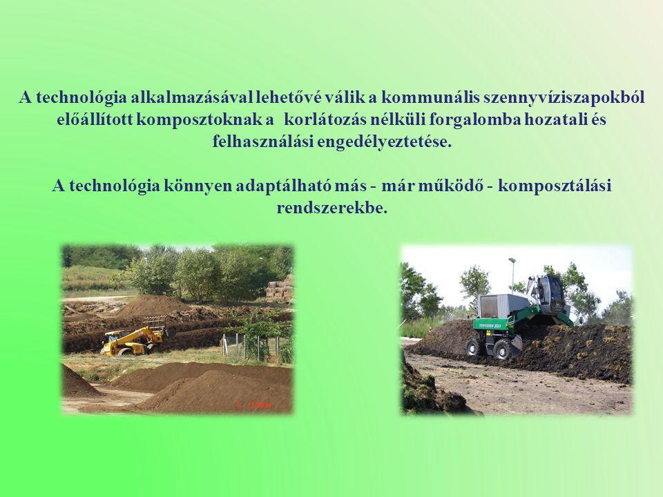 A technológia alkalmazásával lehetővé válik a kommunális szennyvíziszapokból előállított komposztoknak a korlátozás nélküli forgalomba hozatali és felhasználási engedélyeztetése.