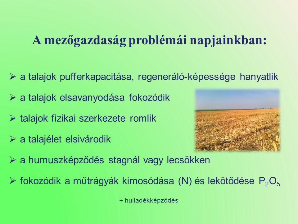 A mezőgazdaság problémái napjainkban:  a talajok pufferkapacitása, regeneráló-képessége hanyatlik  a talajok elsavanyodása fokozódik  talajok fizikai szerkezete romlik  a talajélet elsivárodik  a humuszképződés stagnál vagy lecsökken  fokozódik a műtrágyák kimosódása (N) és lekötődése P 2 O 5 + hulladékképződés