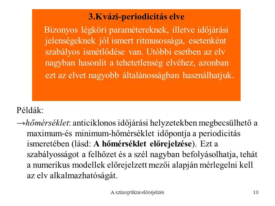 A szinoptikus előrejelzés10 Példák: →hőmérséklet: anticiklonos időjárási helyzetekben megbecsülhető a maximum-és minimum-hőmérséklet időpontja a perio