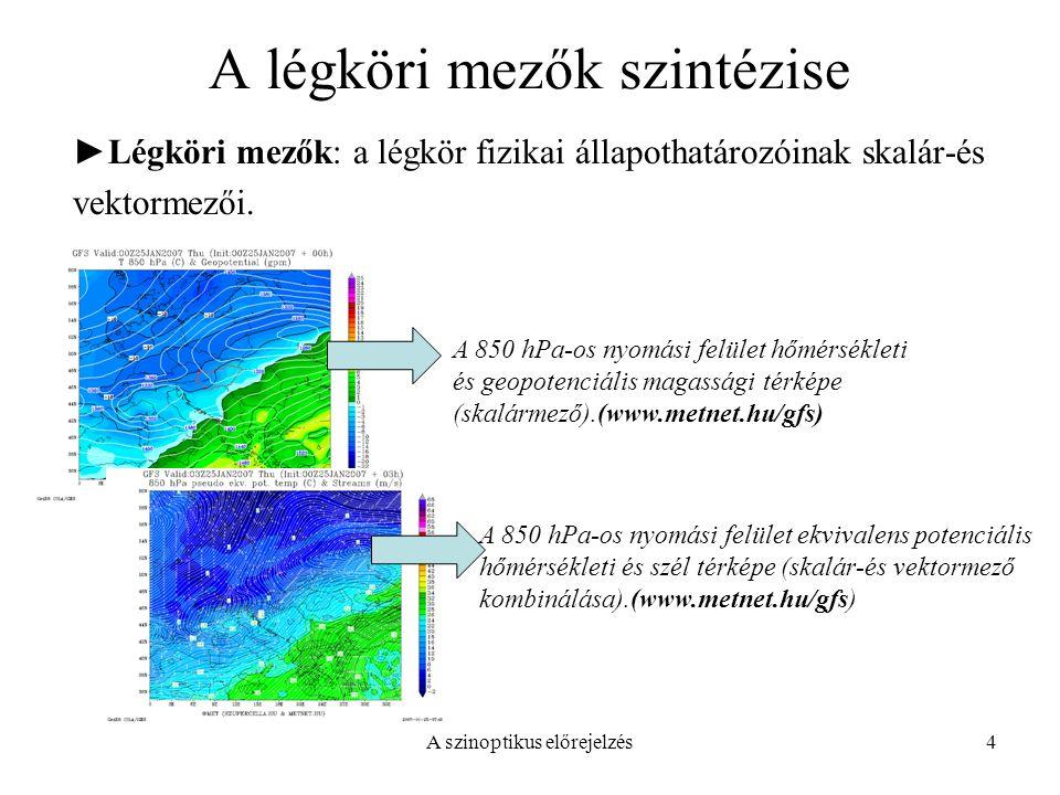 A szinoptikus előrejelzés4 A légköri mezők szintézise ►Légköri mezők: a légkör fizikai állapothatározóinak skalár-és vektormezői. A 850 hPa-os nyomási