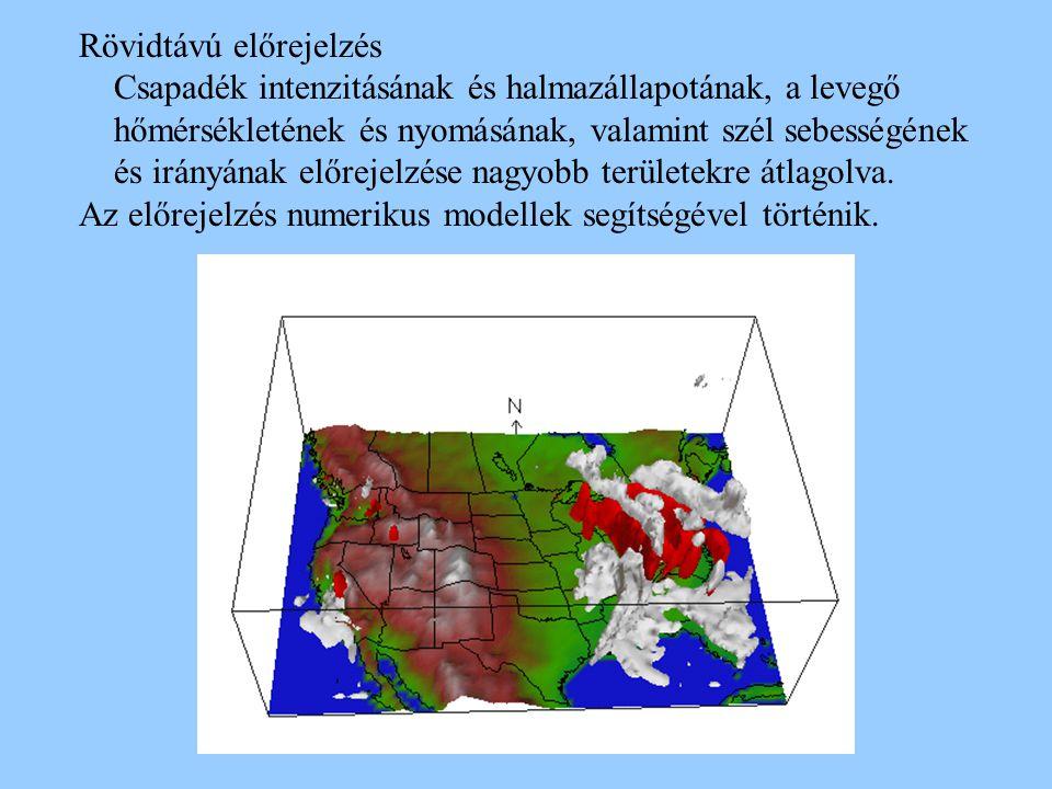 Rövidtávú előrejelzés Csapadék intenzitásának és halmazállapotának, a levegő hőmérsékletének és nyomásának, valamint szél sebességének és irányának el