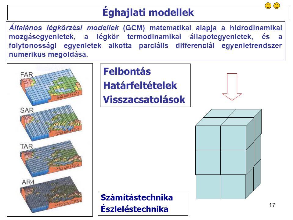 17 Éghajlati modellek Számítástechnika Észleléstechnika Általános légkörzési modellek (GCM) matematikai alapja a hidrodinamikai mozgásegyenletek, a légkör termodinamikai állapotegyenletek, és a folytonossági egyenletek alkotta parciális differenciál egyenletrendszer numerikus megoldása.