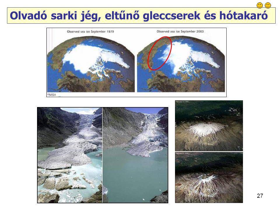 27 Olvadó sarki jég, eltűnő gleccserek és hótakaró