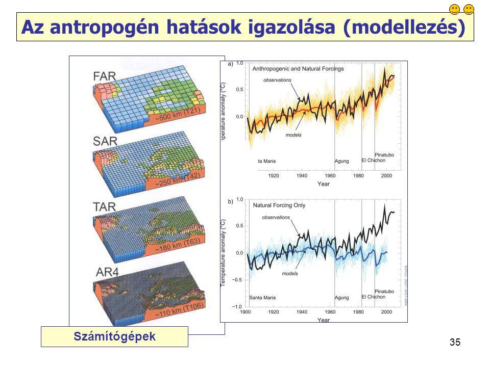 35 Az antropogén hatások igazolása (modellezés) Számítógépek