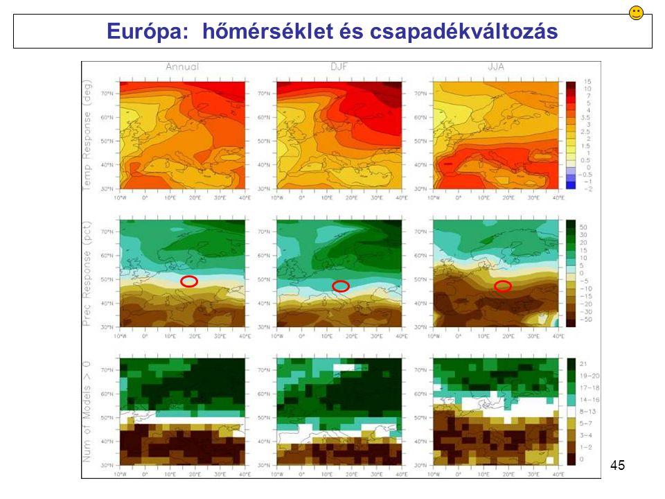 45 Európa: hőmérséklet és csapadékváltozás