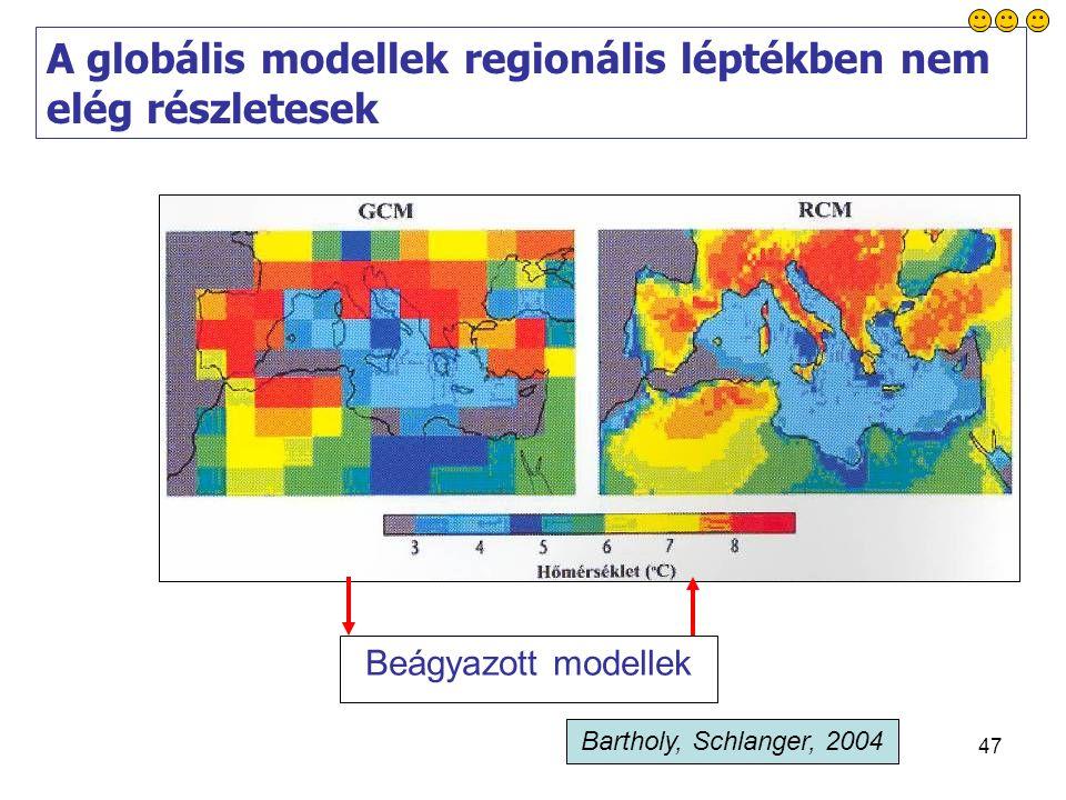 47 A globális modellek regionális léptékben nem elég részletesek Beágyazott modellek Bartholy, Schlanger, 2004