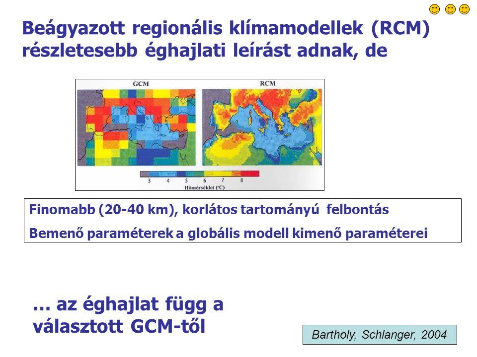 50 Beágyazott regionális klímamodellek (RCM) részletesebb éghajlati leírást adnak, de Finomabb (20-40 km), korlátos tartományú felbontás Bemenő paraméterek a globális modell kimenő paraméterei … az éghajlat függ a választott GCM-től Bartholy, Schlanger, 2004