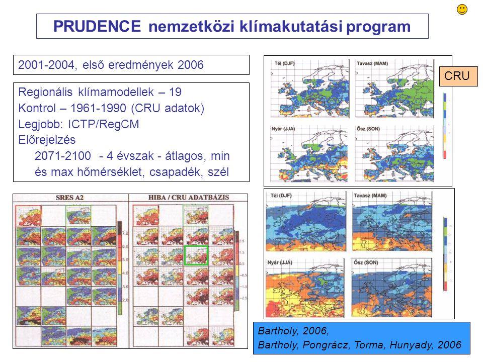 52 PRUDENCE nemzetközi klímakutatási program Regionális klímamodellek – 19 Kontrol – 1961-1990 (CRU adatok) Legjobb: ICTP/RegCM Előrejelzés 2071-2100 - 4 évszak - átlagos, min és max hőmérséklet, csapadék, szél 2001-2004, első eredmények 2006 Bartholy, 2006, Bartholy, Pongrácz, Torma, Hunyady, 2006 CRU