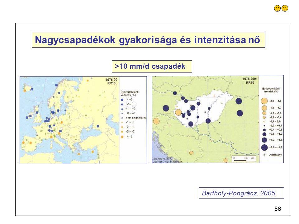 56 Nagycsapadékok gyakorisága és intenzitása nő >10 mm/d csapadék Bartholy-Pongrácz, 2005
