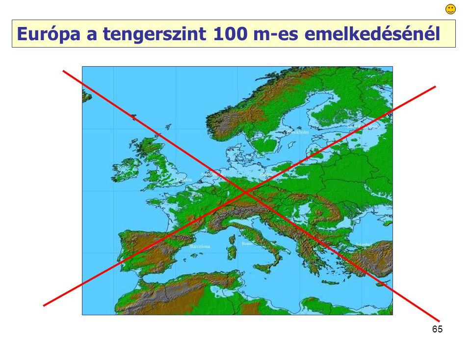 65 Európa a tengerszint 100 m-es emelkedésénél
