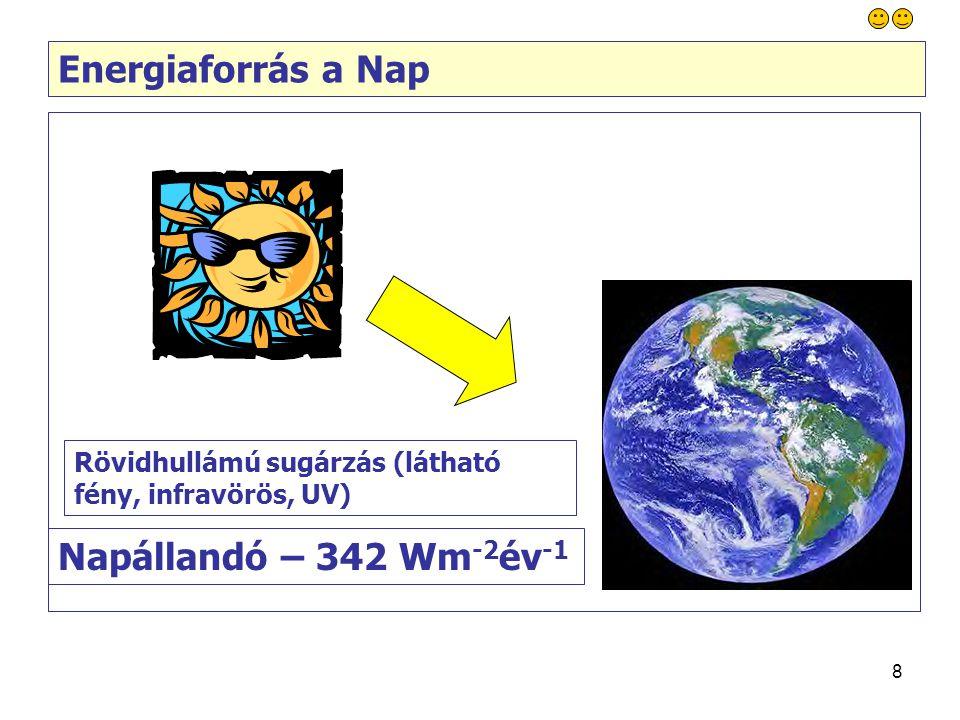 8 Energiaforrás a Nap Napállandó – 342 Wm -2 év -1 Rövidhullámú sugárzás (látható fény, infravörös, UV)