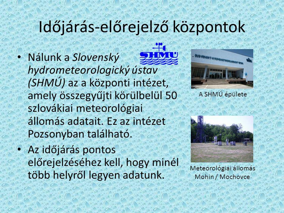 Időjárás-előrejelző központok • Nálunk a Slovenský hydrometeorologický ústav (SHMÚ) az a központi intézet, amely összegyűjti körülbelül 50 szlovákiai