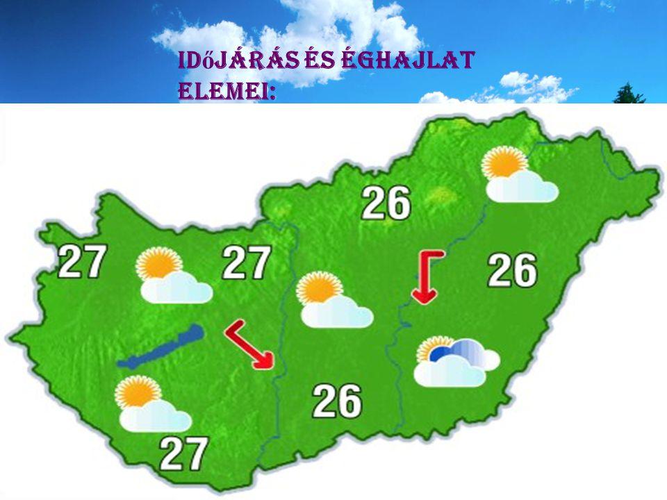 Id ő járás és éghajlat elemei: -Napsugárzás Hőmérséklet - Hőmérséklet Szél - Szél Csapadék - Csapadék