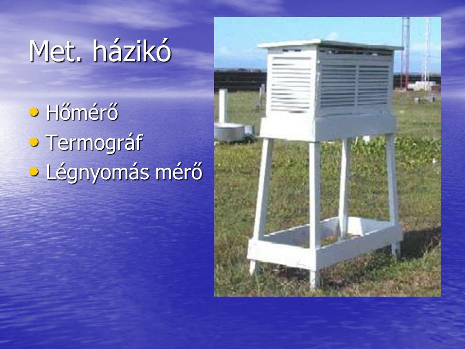 Met. házikó • Hőmérő • Termográf • Légnyomás mérő