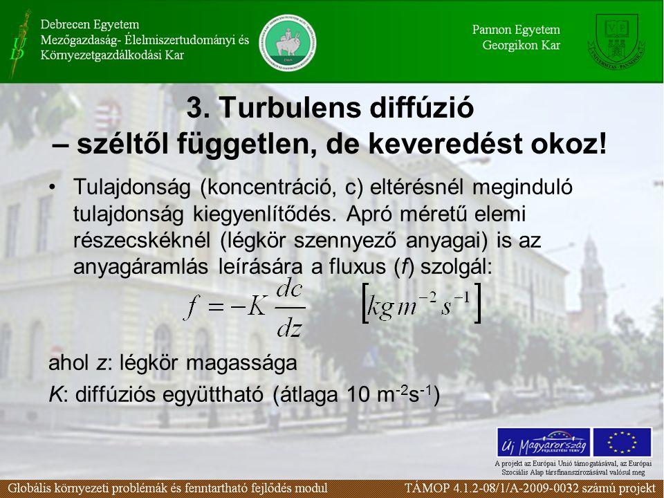 3.Turbulens diffúzió – széltől független, de keveredést okoz.