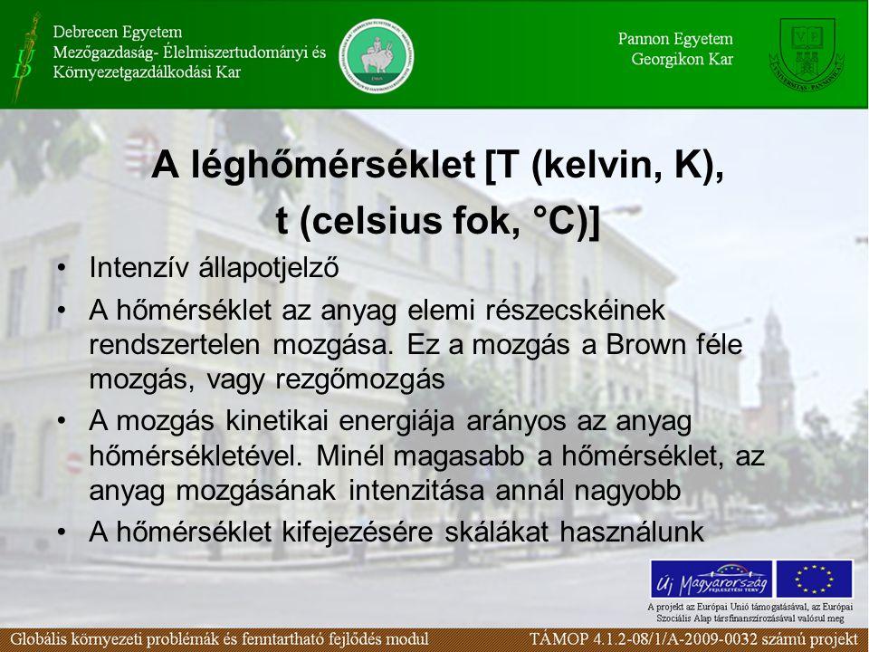 A léghőmérséklet [T (kelvin, K), t (celsius fok, °C)] •Intenzív állapotjelző •A hőmérséklet az anyag elemi részecskéinek rendszertelen mozgása.