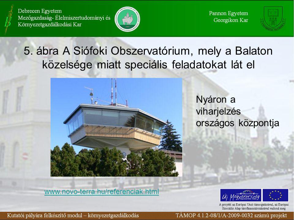 5. ábra A Siófoki Obszervatórium, mely a Balaton közelsége miatt speciális feladatokat lát el Nyáron a viharjelzés országos központja www.novo-terra.h