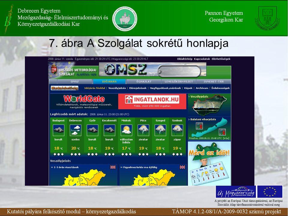 7. ábra A Szolgálat sokrétű honlapja
