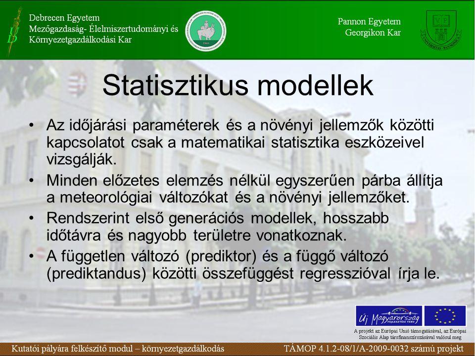Statisztikus modellek •Az időjárási paraméterek és a növényi jellemzők közötti kapcsolatot csak a matematikai statisztika eszközeivel vizsgálják.