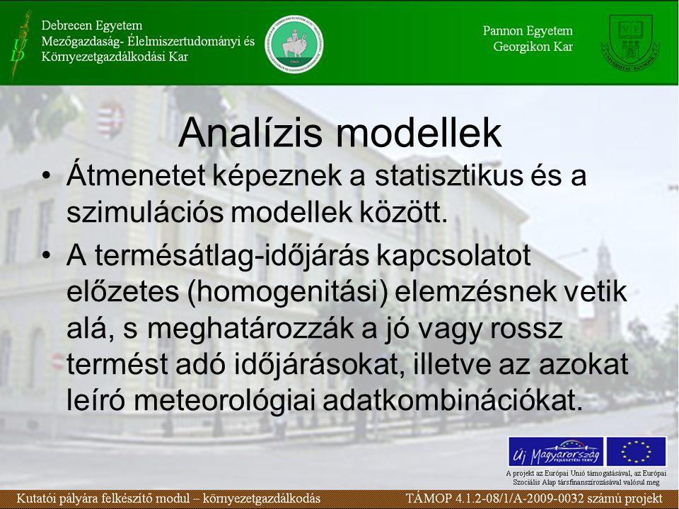 Analízis modellek •Átmenetet képeznek a statisztikus és a szimulációs modellek között.
