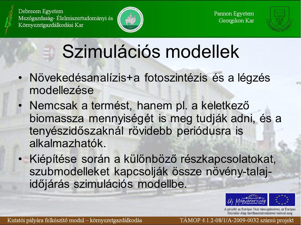 Szimulációs modellek •Növekedésanalízis+a fotoszintézis és a légzés modellezése •Nemcsak a termést, hanem pl.
