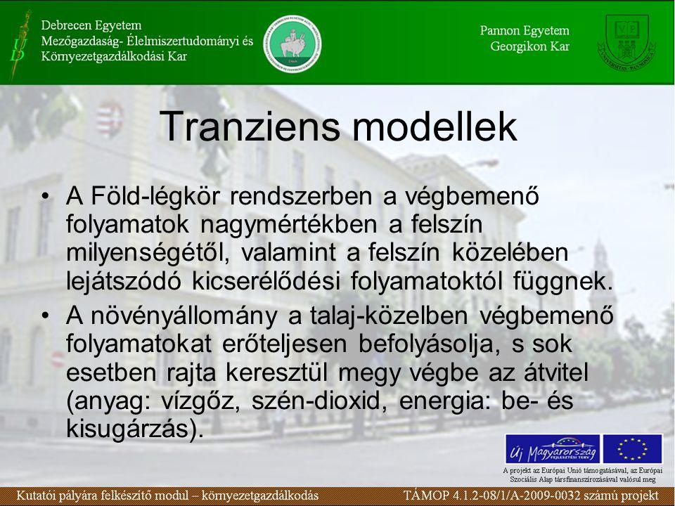 Tranziens modellek •A Föld-légkör rendszerben a végbemenő folyamatok nagymértékben a felszín milyenségétől, valamint a felszín közelében lejátszódó kicserélődési folyamatoktól függnek.