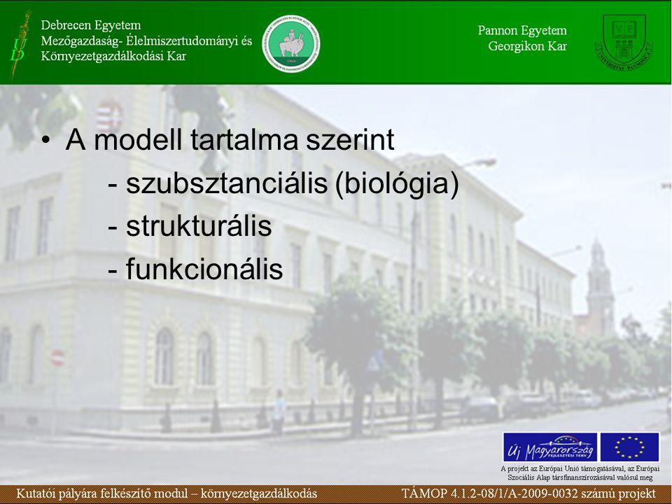 •A modell tartalma szerint - szubsztanciális (biológia) - strukturális - funkcionális