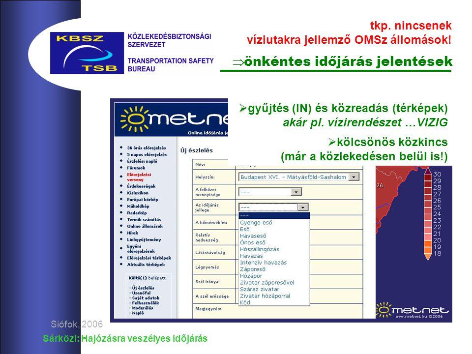 Az OMSz óránként jelentő és éghajlat-rögzítő állomásai Sárközi: Hajózásra veszélyes időjárás Siófok, 2006 tkp.