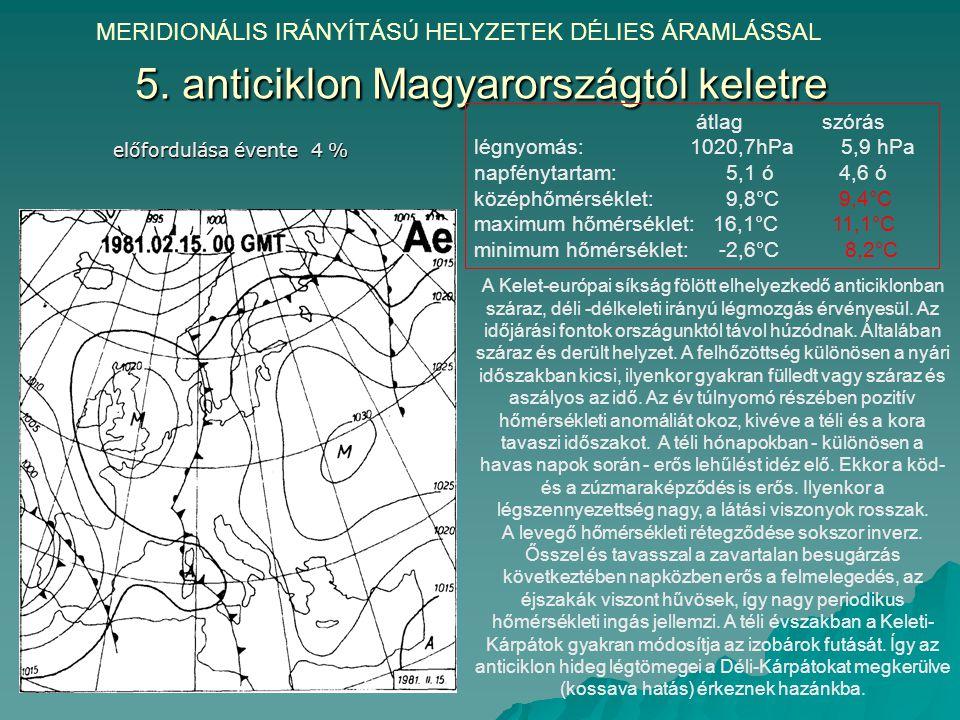 5. anticiklon Magyarországtól keletre MERIDIONÁLIS IRÁNYÍTÁSÚ HELYZETEK DÉLIES ÁRAMLÁSSAL előfordulása évente 4 % A Kelet-európai síkság fölött elhely