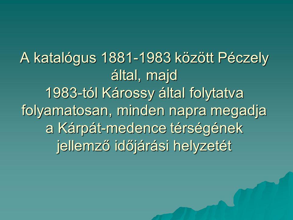 A katalógus 1881-1983 között Péczely által, majd 1983-tól Károssy által folytatva folyamatosan, minden napra megadja a Kárpát-medence térségének jelle