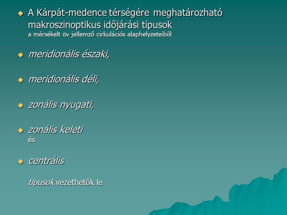 MERIDIONÁLIS IRÁNYÍTÁSÚ HELYZETEK ÉSZAKIAS ÁRAMLÁSSAL 1.