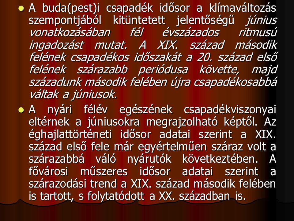  A budapesti idősorok tanúsága szerint a XIX.század második felében, XX.