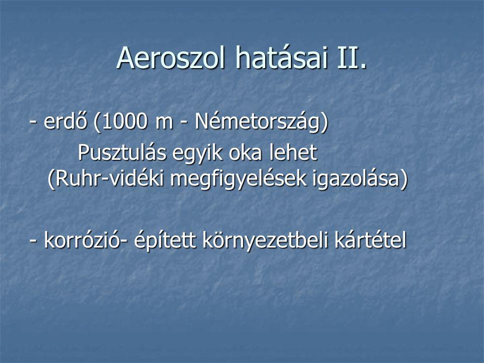 Aeroszol hatásai II. - erdő (1000 m - Németország) Pusztulás egyik oka lehet (Ruhr-vidéki megfigyelések igazolása) - korrózió- épített környezetbeli k