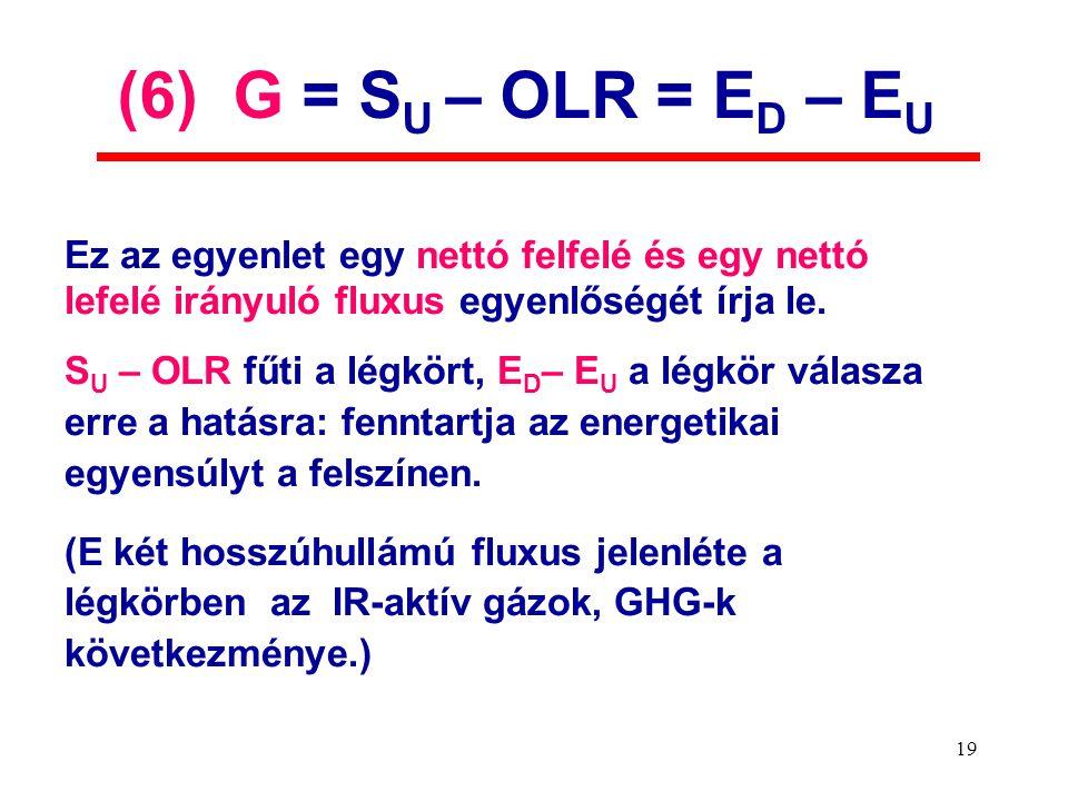 19 Ez az egyenlet egy nettó felfelé és egy nettó lefelé irányuló fluxus egyenlőségét írja le.