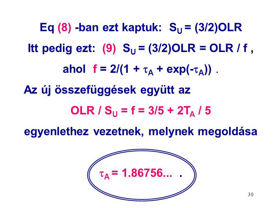 30 Eq (8) -ban ezt kaptuk: S U = (3/2)OLR Itt pedig ezt: (9) S U = (3/2)OLR = OLR / f, ahol f = 2/(1 +  A + exp(-  A )).