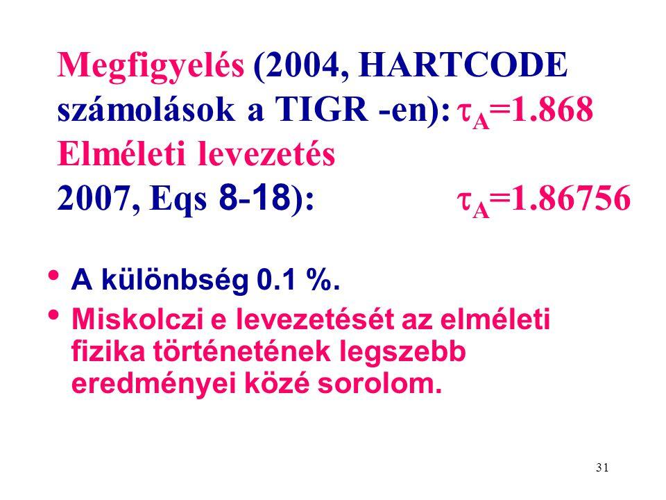 31 Megfigyelés (2004, HARTCODE számolások a TIGR -en):  A =1.868 Elméleti levezetés 2007, Eqs 8 - 18 ):  A =1.86756 • A különbség 0.1 %.