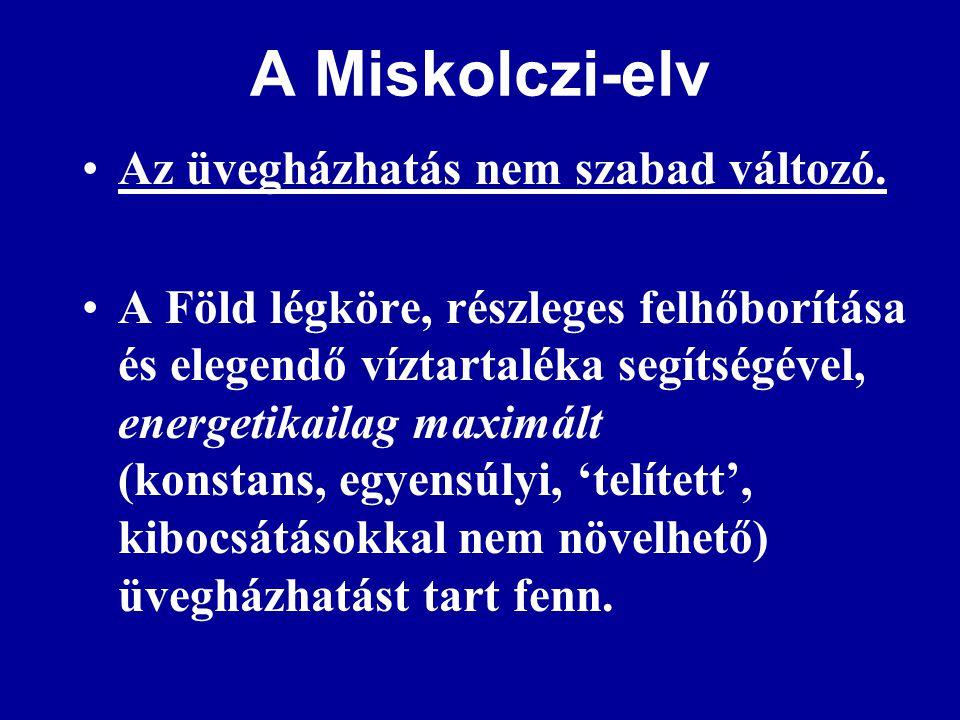 A Miskolczi-elv •Az üvegházhatás nem szabad változó.
