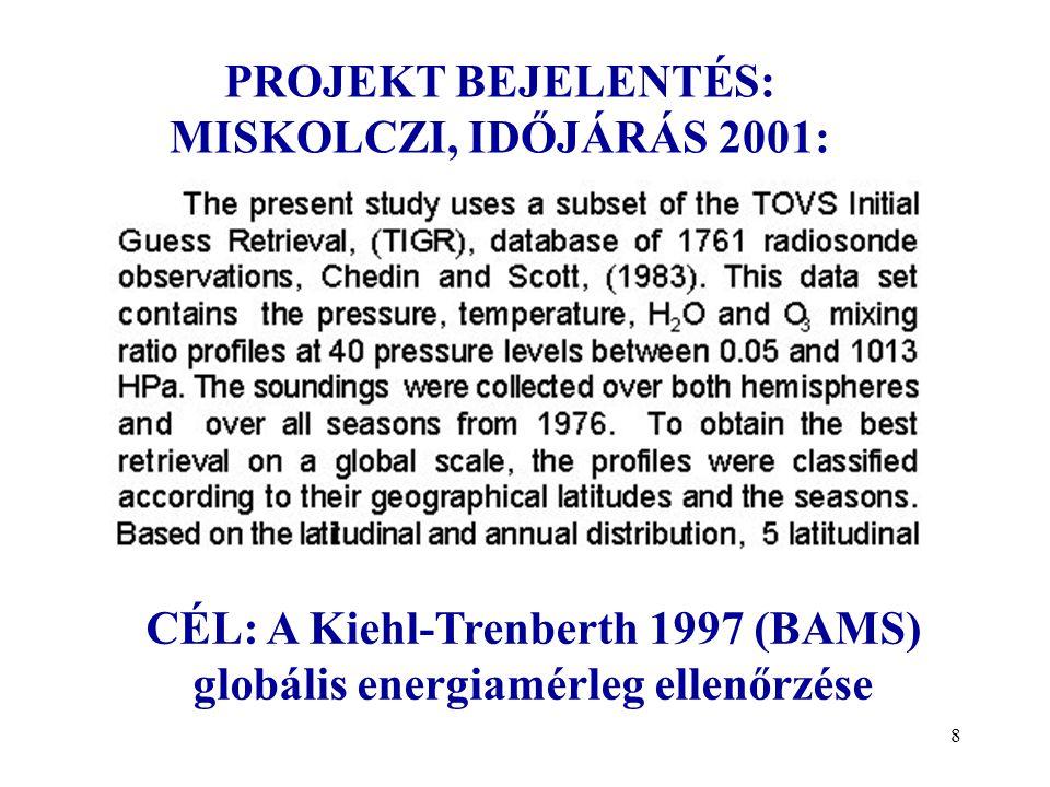 8 PROJEKT BEJELENTÉS: MISKOLCZI, IDŐJÁRÁS 2001: CÉL: A Kiehl-Trenberth 1997 (BAMS) globális energiamérleg ellenőrzése