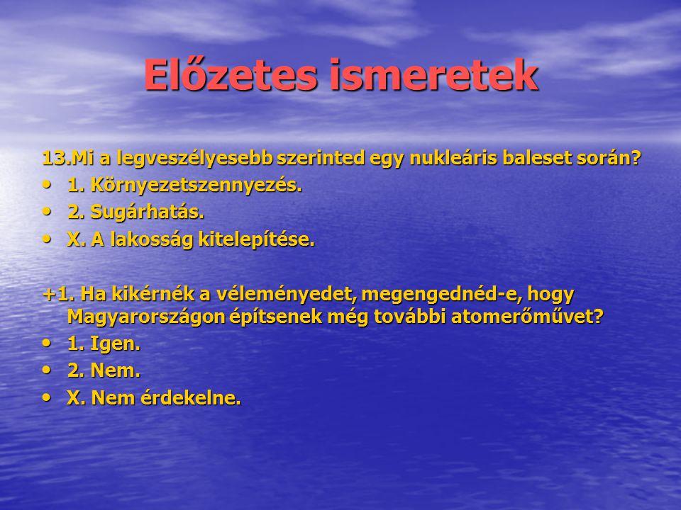 Előzetes ismeretek 13.Mi a legveszélyesebb szerinted egy nukleáris baleset során? • 1. Környezetszennyezés. • 2. Sugárhatás. • X. A lakosság kitelepít