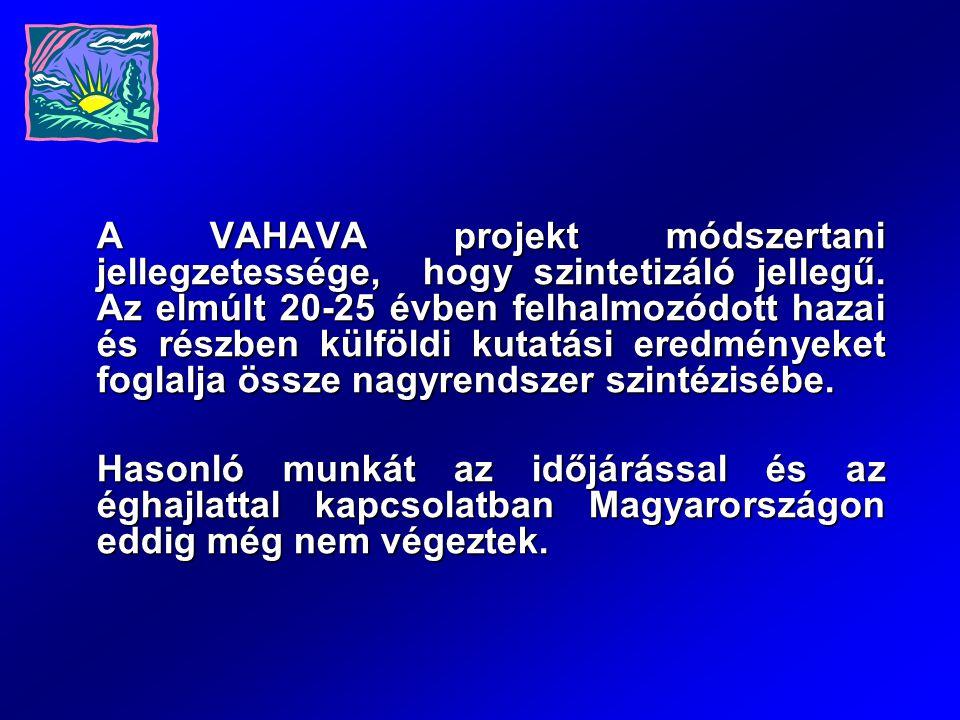 A VAHAVA projekt módszertani jellegzetessége, hogy szintetizáló jellegű. Az elmúlt 20-25 évben felhalmozódott hazai és részben külföldi kutatási eredm