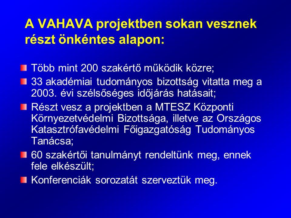 A VAHAVA projektben sokan vesznek részt önkéntes alapon: Több mint 200 szakértő működik közre; 33 akadémiai tudományos bizottság vitatta meg a 2003. é