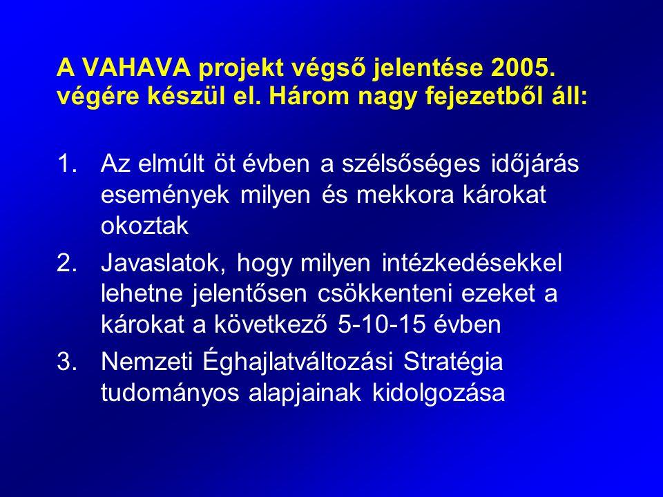 A VAHAVA projekt végső jelentése 2005. végére készül el. Három nagy fejezetből áll: 1.Az elmúlt öt évben a szélsőséges időjárás események milyen és me
