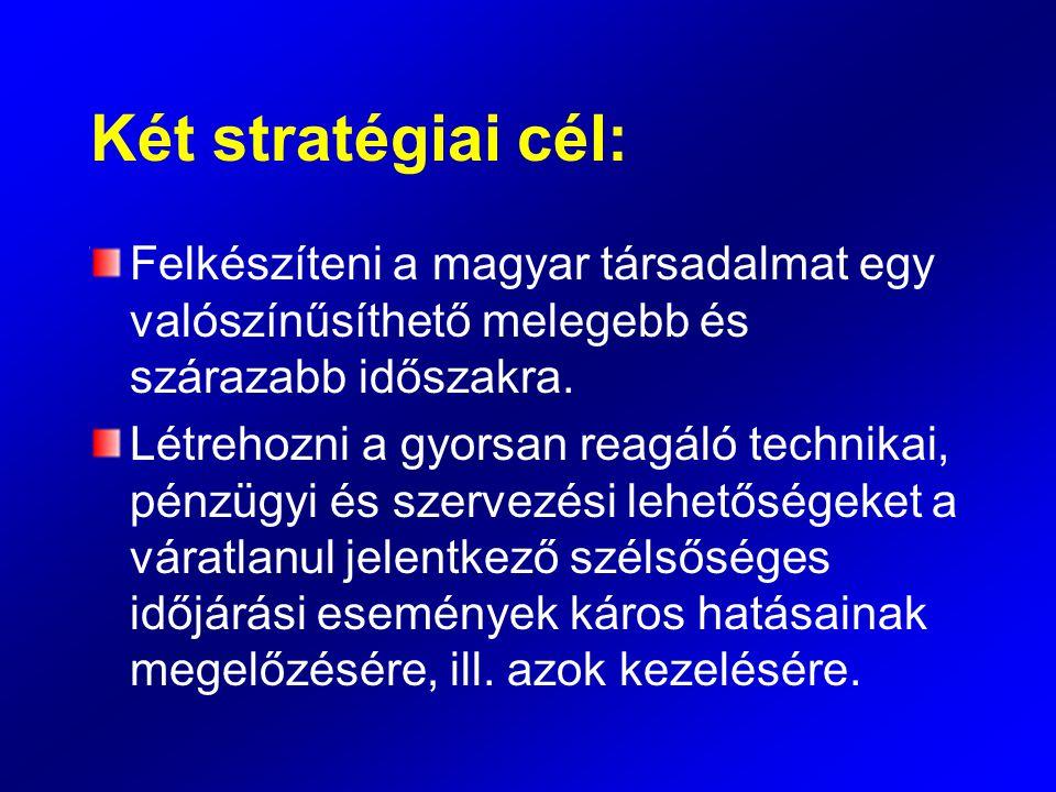 Két stratégiai cél: Felkészíteni a magyar társadalmat egy valószínűsíthető melegebb és szárazabb időszakra. Létrehozni a gyorsan reagáló technikai, pé