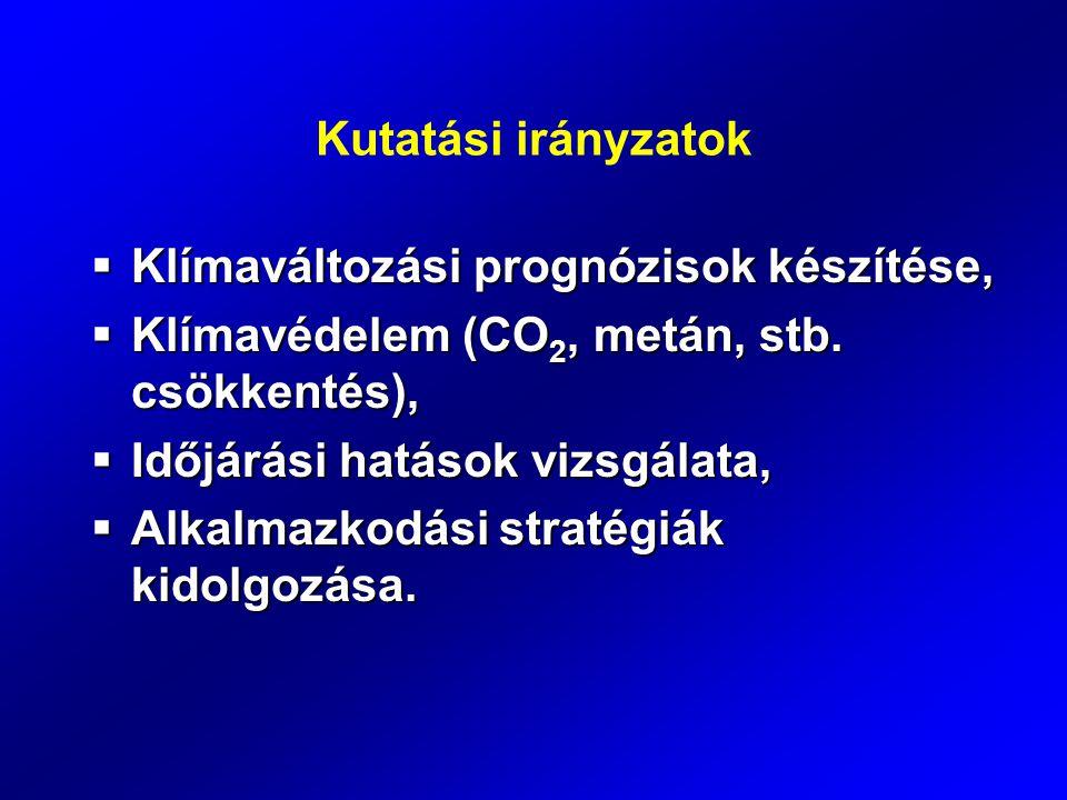 Kutatási irányzatok  Klímaváltozási prognózisok készítése,  Klímavédelem (CO 2, metán, stb. csökkentés),  Időjárási hatások vizsgálata,  Alkalmazk
