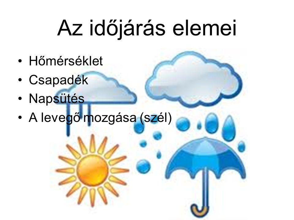Az időjárás elemei •Hőmérséklet •Csapadék •Napsütés •A levegő mozgása (szél)